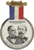 """Political:Ribbons & Badges, McKinley & Hobart: 1896 """"The Republican Club of Massachusetts"""" Sixth Annual Dinner Jugate Badge...."""