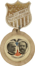 """Political:Ribbons & Badges, McKinley & Hobart: 1896 """"Honest Money and Protection"""" Leather Jugate Campaign Badge...."""