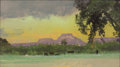 Texas:Early Texas Art - Impressionists, FRANK REAUGH (American, 1860-1945). Landscape with Purple Butteand Lavender Sky. Pastel on paper. 3-1/2 x 6-1/2 inches ...