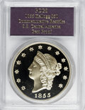 """S.S.C.A. Relic Gold Medals, 1855 $50 SSCA Relic Gold Medal """"1855 Kellogg & Co. Fifty"""" GemProof PCGS. ..."""