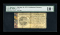 Colonial Notes:Continental Congress Issues, Continental Currency May 10, 1775 $20 PMG Very Good 10 NET....