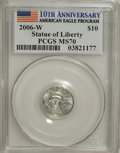 Modern Bullion Coins, 2006-W $10 Platinum MS70 PCGS. 10th Anniversary American EagleProgram. PCGS Population (80/0). NGC Census: (0/0). (#2112...