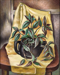 CHARLES TAYLOR BOWLING (American, 1891-1985) Still Life with Yellow Drape, 1943 Oil on masonite 2