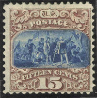 #118a, 1869, 15c Brown & Blue FR-G 20 PSE. (Partial Original Gum)