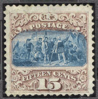 #118, 1869, 15c Brown & Blue G 30 PSE. (Original Gum - Previously Hinged)