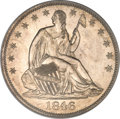 Proof Seated Half Dollars, 1846 50C Medium Date PR64 PCGS. CAC....