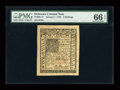 Colonial Notes:Delaware, Delaware January 1, 1776 5s PMG Gem Uncirculated 66 EPQ....
