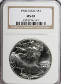 Modern Bullion Coins: , 1990 $1 Silver Eagle MS69 NGC. NGC Census: (57546/153). PCGSPopulation (2719/0). Mintage: 5,840,210. Numismedia Wsl. Price...