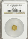 California Fractional Gold: , 1870 50C Liberty Round 50 Cents, BG-1010, R.3, MS62 NGC. NGCCensus: (7/6). PCGS Population (29/85). (#10839)...