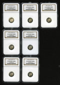 Proof Roosevelt Dimes: , (7) 1999-S 10C Silver PR69 Deep Cameo NGC.... (Total: 7 Coins)