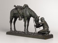 Sculpture, CHARLES SCHREYVOGEL (American, 1861-1912). The Last Drop, 1903. Bronze with patina. 12 x 18-1/2 x 5 inches (30.5 x 47.0 ...