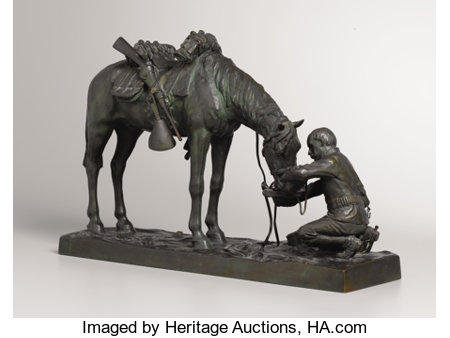 CHARLES SCHREYVOGEL (American, 1861-1912)The Last Drop, 1903Bronze with patina12 x 18-1/2 x 5 inches (30.5 x 47.0 ...