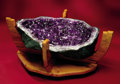 Lapidary Art:Tables / Tabletops, AMETHYST TABLE W/WOOD BASE & GLASS . ...