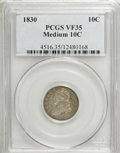 Bust Dimes: , 1830 10C Medium 10C VF35 PCGS. PCGS Population (9/154). NGC Census:(0/147). Mintage: 510,000. Numismedia Wsl. Price for NG...
