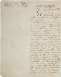 "Autographs:Non-American, Ramon Musquiz Document Signed. One page in Spanish, 6.5"" x 8"",November 3, 1831, Bexar [San Antonio], with heading""Office..."