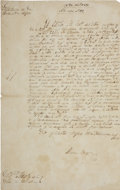 "Autographs:Non-American, Ramon Musquiz Document Signed. One page in Spanish, 8"" x 12.75"",November 12, 1831, Bexar [San Antonio], with heading ""Hea..."