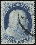 Stamps, #21, 1857, 1c Blue, XF 90 PSE. (Used)....