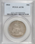 Seated Half Dollars: , 1864 50C AU50 PCGS. PCGS Population (2/65). NGC Census: (1/69).Mintage: 379,100. Numismedia Wsl. Price for NGC/PCGS coin i...