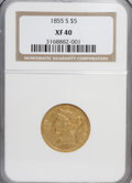 Liberty Half Eagles: , 1855-S $5 XF40 NGC. NGC Census: (7/97). PCGS Population (11/59).Mintage: 61,000. Numismedia Wsl. Price for NGC/PCGS coin i...