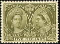 Stamps, Unitrade #65 (Scott #65), 1897, $5 Olive Green. (Original Gum - Never Hinged)....
