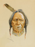 Works on Paper, OLAF WIEGHORST (American, 1899-1988). Indian. Watercolor, ink, and gouache on paper. 8-1/2 x 6-1/2 inches (21.6 x 16.5 c...
