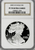 Modern Bullion Coins, 2005-W $1 Silver Eagle PR70 Ultra Cameo NGC. NGC Census: (0/0).PCGS Population (518/0). Numismedia Wsl. Price for NGC/PCG...