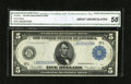 Fr. 891a $5 1914 Federal Reserve Note CGA About Uncirculated 58