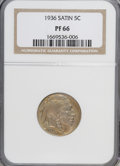 Proof Buffalo Nickels: , 1936 5C Type One--Satin Finish PR66 NGC. NGC Census: (222/157).PCGS Population (254/245). Mintage: 4,420. Numismedia Wsl. ...