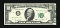 Error Notes:Attached Tabs, Fr. 2021-B $10 1969C Federal Reserve Note. Very Fine.. ...
