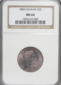 Coins of Hawaii: , 1883 25C Hawaii Quarter MS64 NGC. NGC Census: (175/196). PCGS Population (299/236). Mintage: 500,000. (#10987)...