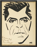 Movie/TV Memorabilia:Autographs and Signed Items, Boris Karloff Signed Sketch from the Brown Derby....