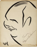 Movie/TV Memorabilia:Autographs and Signed Items, Paul Whiteman Signed Sketch from the Brown Derby....