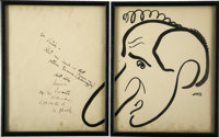 Jimmy Durante Signed Set of Sketches from the Brown Derby