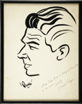 Movie/TV Memorabilia:Autographs and Signed Items, Ronald Reagan Signed Sketch from the Brown Derby....