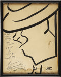 Movie/TV Memorabilia:Autographs and Signed Items, Maurice Chevalier Signed Sketch from the Brown Derby....