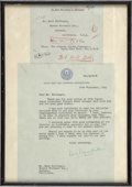 Movie/TV Memorabilia:Autographs and Signed Items, Louis Mountbatten Signed Letter to Mark Hellinger....