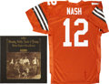 Music Memorabilia:Autographs and Signed Items, Graham Nash Signed Album with Football Jersey.... (Total: 2 Items)