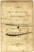 Books:Pamphlets & Tracts, [Texas Republic] Laws Passed at a Special Session of the SixthCongress of the Republic of Texas, Convened and Hel...