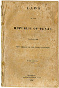 Books:Pamphlets & Tracts, [Texas Republic] Laws of the Republic of Texas Passed at theFirst Session of the Third Congress. In one volume. ...