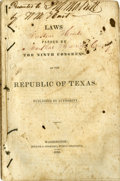 Books:Pamphlets & Tracts, [Texas Republic] Laws Passed by the Ninth Congress of theRepublic of Texas. Published by Authority. Washington:...