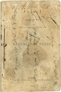 Books:Pamphlets & Tracts, [Texas Republic] Laws Passed by the Eighth Congress of theRepublic of Texas. Published by Authority. Houston: C...
