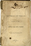 Books:Pamphlets & Tracts, [Texas Republic] Laws Of The Republic Of Texas, Passed At The Session Of The Fifth Congress. Printed By Order Of The Sec...
