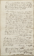 "Autographs:U.S. Presidents, James K. Polk Document Signed. Two pages, front and verso, 8"" x 13"", March 11, 1824, [Columbia] Maury County, Tennessee. The..."