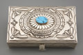 American Indian Art:Jewelry and Silverwork, A NAVAJO SILVER AND TURQUOISE BOX. Suzie James. c. 1975...