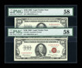 Small Size:Legal Tender Notes, Fr. 1550 $100 1966 Legal Tender Notes. Two Consecutive Examples. PMG Choice About Unc 58.. ... (Total: 2 notes)