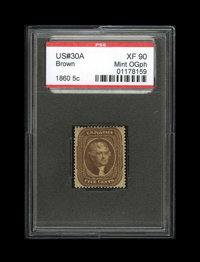 #30A, 1860, 5c Brown, XF 90; PSE. (Original Gum - Previously Hinged)