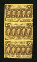 Fractional Currency:First Issue, Fr. 1281 25c First Issue Vertical Strip of Three. Choice New....