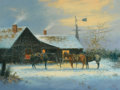 Western:20th Century, PROPERTY FROM THE DUFFY AND TINA OYSTER FOUNDATION. JACK TERRY (American, b. 1952). Christmas Eve, 1977. Oil on canvas...
