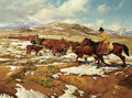 Paintings, BILL OWEN (American, b. 1942). C.O. Bar Cattle Country, 1975. Oil on canvas. 30 x 40 inches (76.2 x 101.6 cm). Signed an...