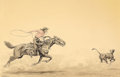 Western:20th Century, OLAF WIEGHORST (American, 1899-1988). Roping. Watercolor on paper. 12 x 18-1/2 inches (30.5 x 47.0 cm) window. Signed lo...